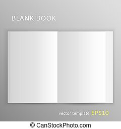 Blank book - Vector blank open book isolated on gray...