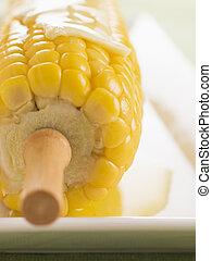 milho, cob, Derretido, manteiga