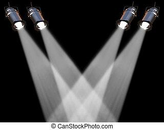 Fpur white spot lights - Two white spot lights on black...