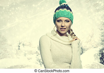 winter candy girl posing - beautiful girl wearing white...