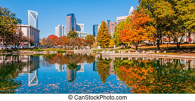 charlotte city skyline autumn season with blue sky