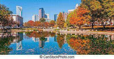 charlotte city skyline autumn season with blue sky
