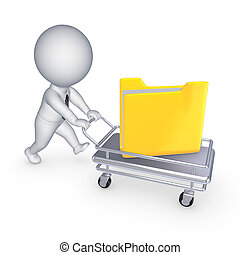 3d small person with yellow folder on pushcart.isolated on...