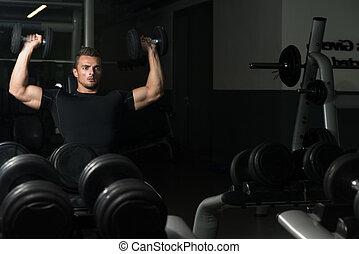 Shoulder Press Workout - Young Men Doing Shoulder Press Whit...