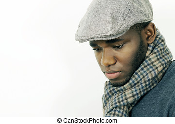 Young man mood, face portrait in horizontal with copy space