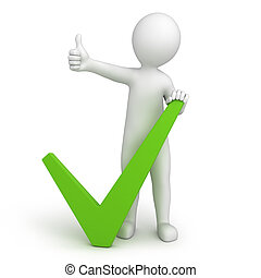 green tick and 3d human with a thumb up. 3d image with a...