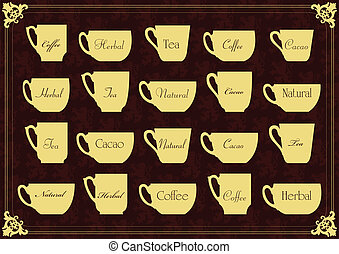 Vintage tea and coffee cups illustration collection