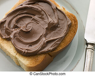 Slice of Toasted brioche with Chocolate Spread