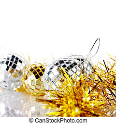 New Years tinsel and New Years balls - Mirror spheres New...