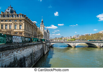 Paris the seine - View on the famous Seine river in the...