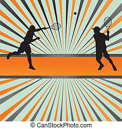 Tennis players silhouettes vector background