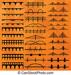Bridge construction silhouettes background vector
