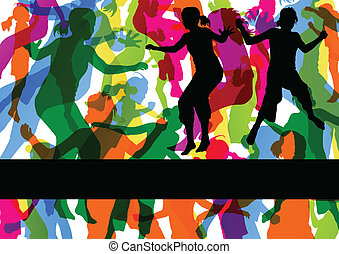 Wild colorful children jumping silhouettes with animal...