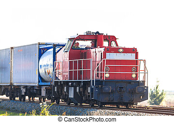 Freight Train - Industrial Freight Train with Container Load
