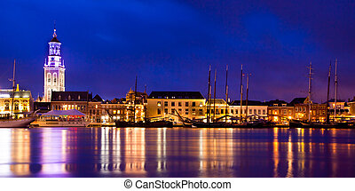 Kampen Harbor Blue Hour - Old Wooden Sailing Ships on the...