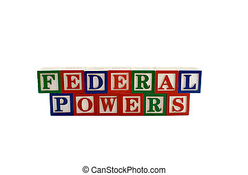 Vintage alphabet blocks spelling federal powers - Vintage...
