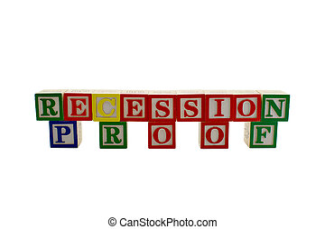 Vintage alphabet blocks spelling recession proof - Vintage...