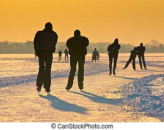 patinadores, debajo, ajuste, sol