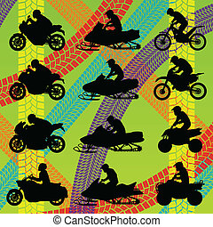 All terrain vehicle quad motorbikes riders illustration...