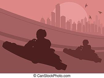 Go cart driver race track landscape background illustration