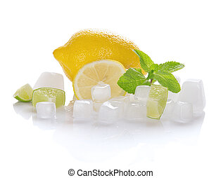 Lemon, slices of a juicy lime, mint and the ice isolated on...