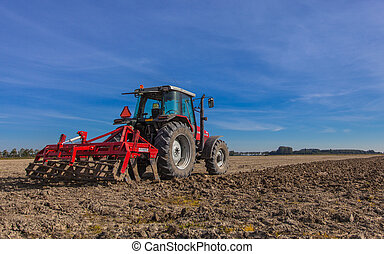 Tractor with Plough at Work - Farming in the Netherlands,...