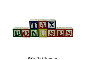 Wooden Alphabet Blocks Spelling Tax Bonuses - A series of...