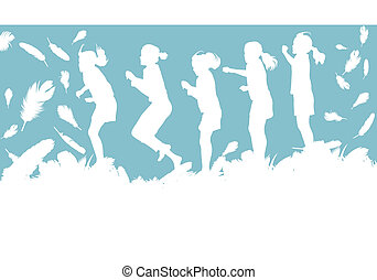 Kid jumping in feathers vector background with copy space...