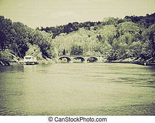 Vintage sepia River Po Turin - Retro sepia Fiume Po (River...