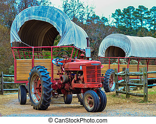 hay rides trailer and tractor