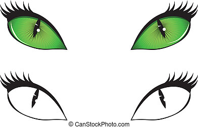 Cartoon cat eyes - Green, black and white cartoon cat eyes...