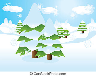 Fir trees on slope - Two fir trees over snow landscape,...
