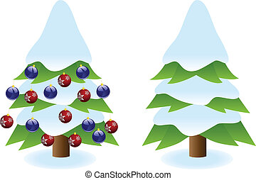 Snowy Christmas tree - Two snowy Christmas tree with...
