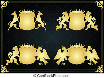 Vintage royal coat of arms elements