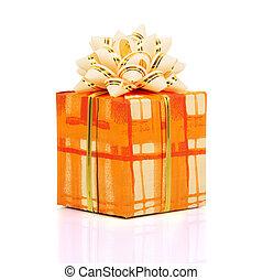 Christmas gift box - The christmas gift box isolated on...