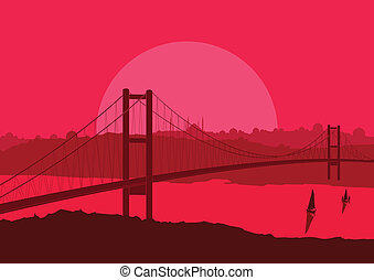 Magic Turkish city Istanbul landscape vector - Magic Turkish...