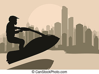 Ski jet water sport motorcycle rider background vector - Ski...