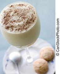 Glass of Zabaglione with Amaretti Biscuits