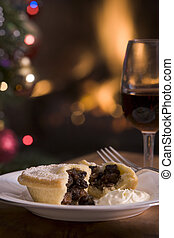 Mince Pie with Brandy cream and a Glass of Sherry