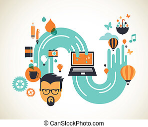 Design, creative, idea and innovation concept illustration