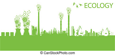Ecology factory chimney vector background concept with no pollution green concept card