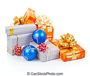 Bright christmas gifts and blue balls isolated on white