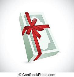 money gift ribbon illustration design over a white...