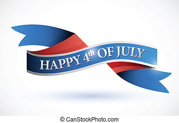 happy 4th of july banner. illustration design over white