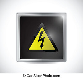 danger electricity sign button over a white background