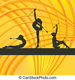 Rhythmic Gymnastics woman with clubs vector background...