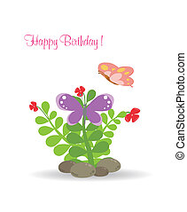 Happy card with butterfly