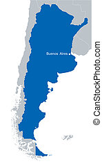 blue map of Argentina with the indication of capital city -...