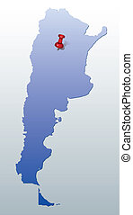 blue map of Argentina with red pin - blue map of Argentina...