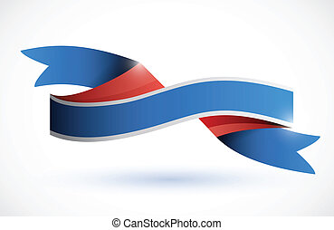 red, white, blue ribbon illustration over a white background